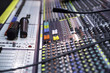 View on sound mixer with regulation buttons