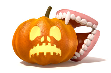 Vampire Teeth Biting Jack O'Lantern