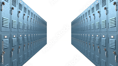 Blue School Lockers Aisle Perspective