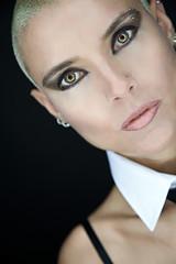 closeup beautiful woman with short hair