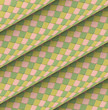 fish scale diagonal tiled green yellow pink roll shape