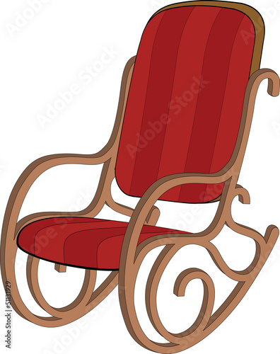 Red wooden rocking chair