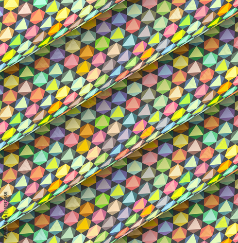fish scale diagonal tiled multiple color roll shape