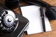 Old Black Telephone and Notepad