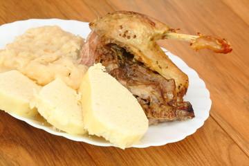 roast duck, sauerkraut, dumplings