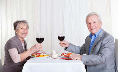 Senior Couple Enjoying Dinner Together
