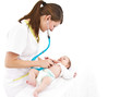 baby examination with stethoscope