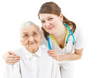 doctor taking care of an old lady