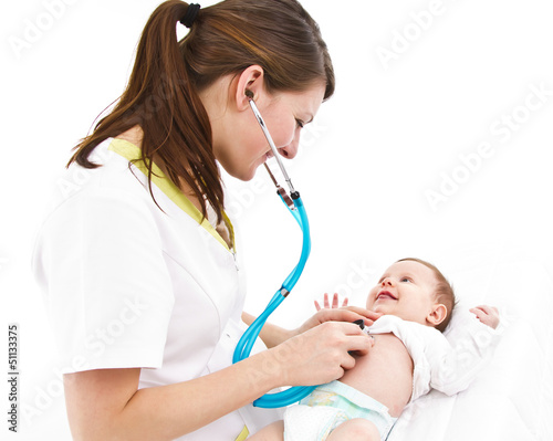 baby examination with stethoscope