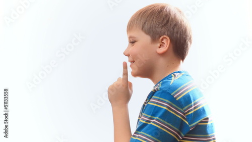 child thinks, schoolboy comes good idea. on a white background
