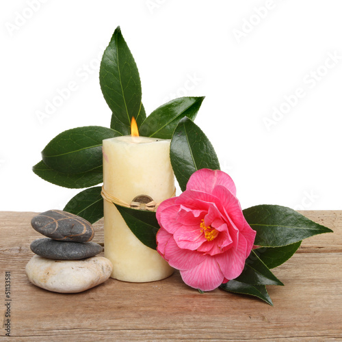 Candle and camellia