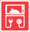 red microwave oven symbol with dish