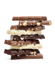 Chocolate Tower on White Background