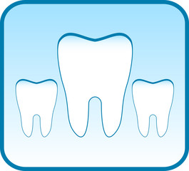 blue icon with set tooth - dental clinic symbol