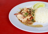 Thai food. rice and shrimp with sweet and spicy sauce