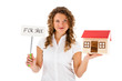Woman holding model of house isolated on white background