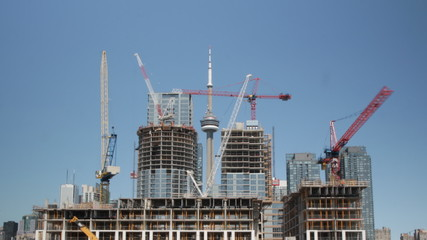 Large condominium construction worksite in Toronto.