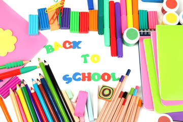The words 'Back to School' composed of letters with various