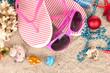Christmas balls,seashells andh beach accessories