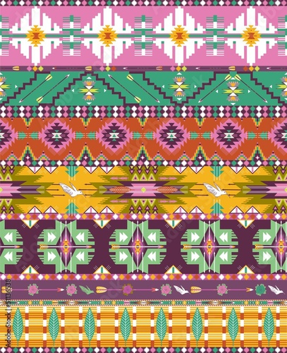 Poster Seamless colorful aztec geometric pattern with birds and arrows