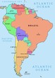 South America - colorful political vector map