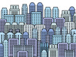 City illustration - blue skyscrapers