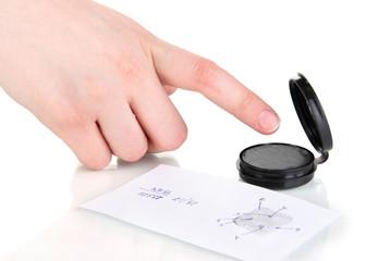 Taking fingerprints isolated on white