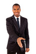 Portrait of an African American business man with an open hand r
