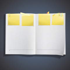 White book with post it inside.