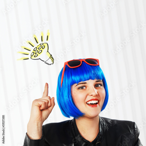 girl with blue wig got an idea
