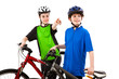 Cyclists - boy and girl isolated on white background