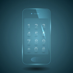 vector illustration of a glass smart phone