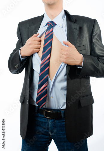 businessman opening  shirt