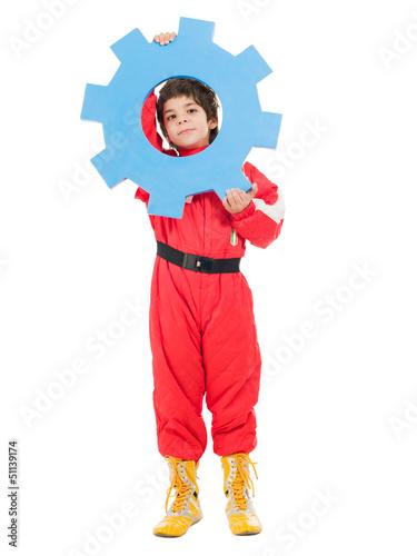 Portrait Of A Boy Holding Cog Wheel