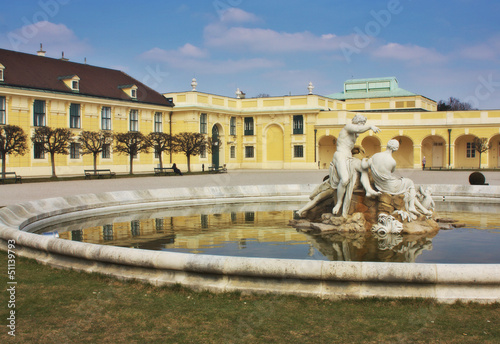 A view of a part of a famous Schonbrunn palace in Vienna Austria