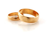 Macro fhoto of golden wedding rings
