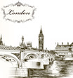 Imitation of retro detailed  hand drawn card with London for des