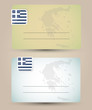 business card with flag and map of Greece