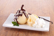 pear with chocolate sauce and vanilla ice cream