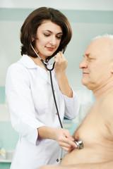 Doctor listening heartbeat