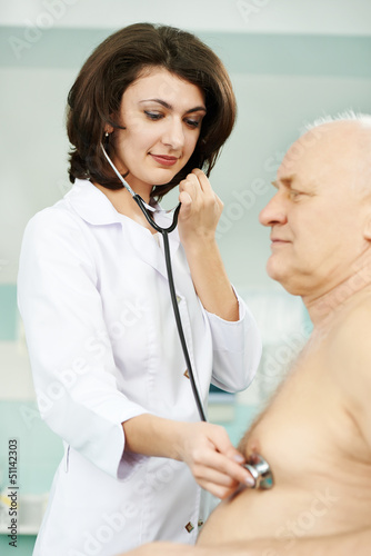 Doctor listening heartbeat