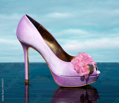 Lilac fashionable stiletto peep toe with marine golden details