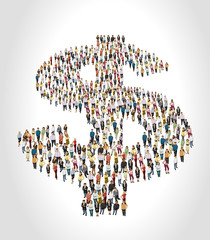 Group of business people forming a big shape of money symbols