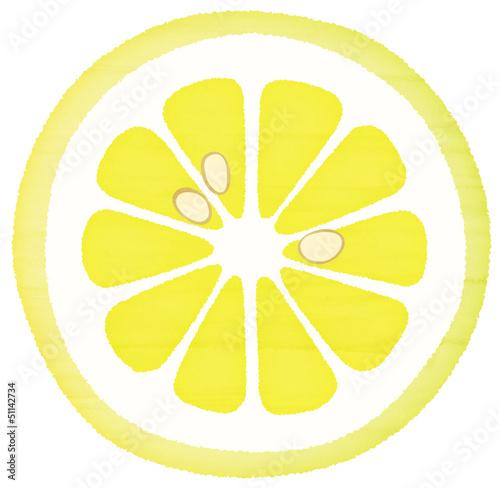 水彩風の輪切りレモン