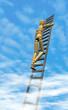 Holzpuppe Leiter Himmel Wolken
