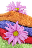 towels and flowers