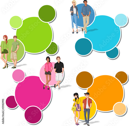 Colorful template with fashion cartoon young people. Teenagers.
