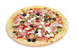 precooked pizza with bacon, olives, cherry tomatoes, goat cheese