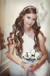 beautiful bride at wedding day in retro dress headdress