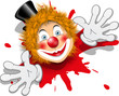 redhaired clown in white gloves